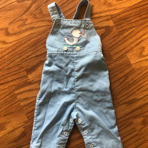 Baby Blue Corduroy Overalls Vintage 80s